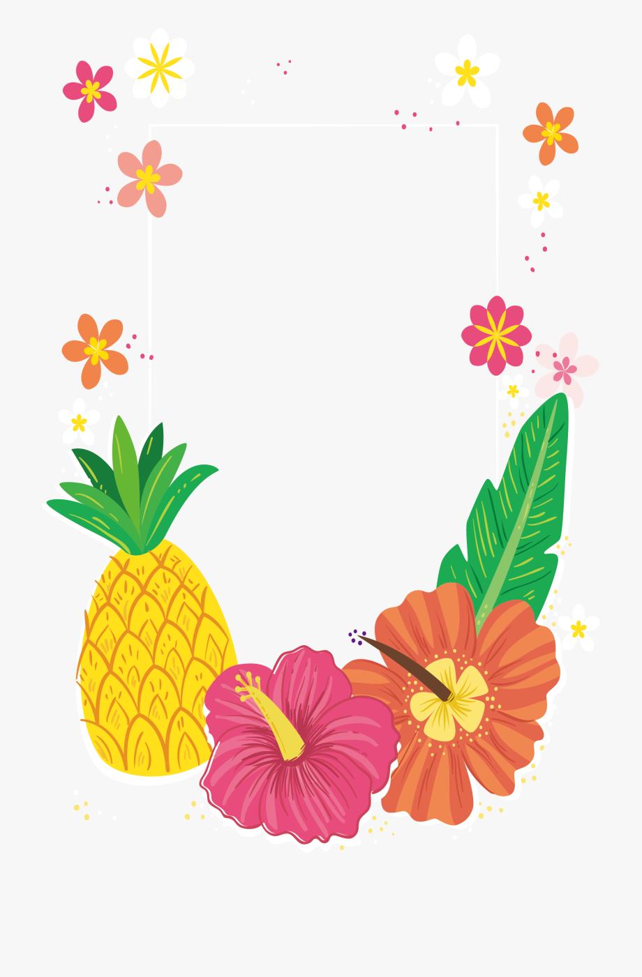 Frame Tropical Pineapple Border , Transparent Cartoon, Free.