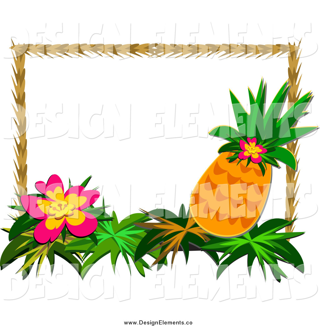 Free download Clip Art of a Tropical Flower and Pineapple.
