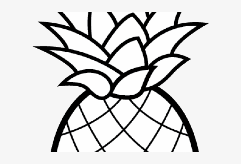 Pineapple Clipart Black And White PNG Image.