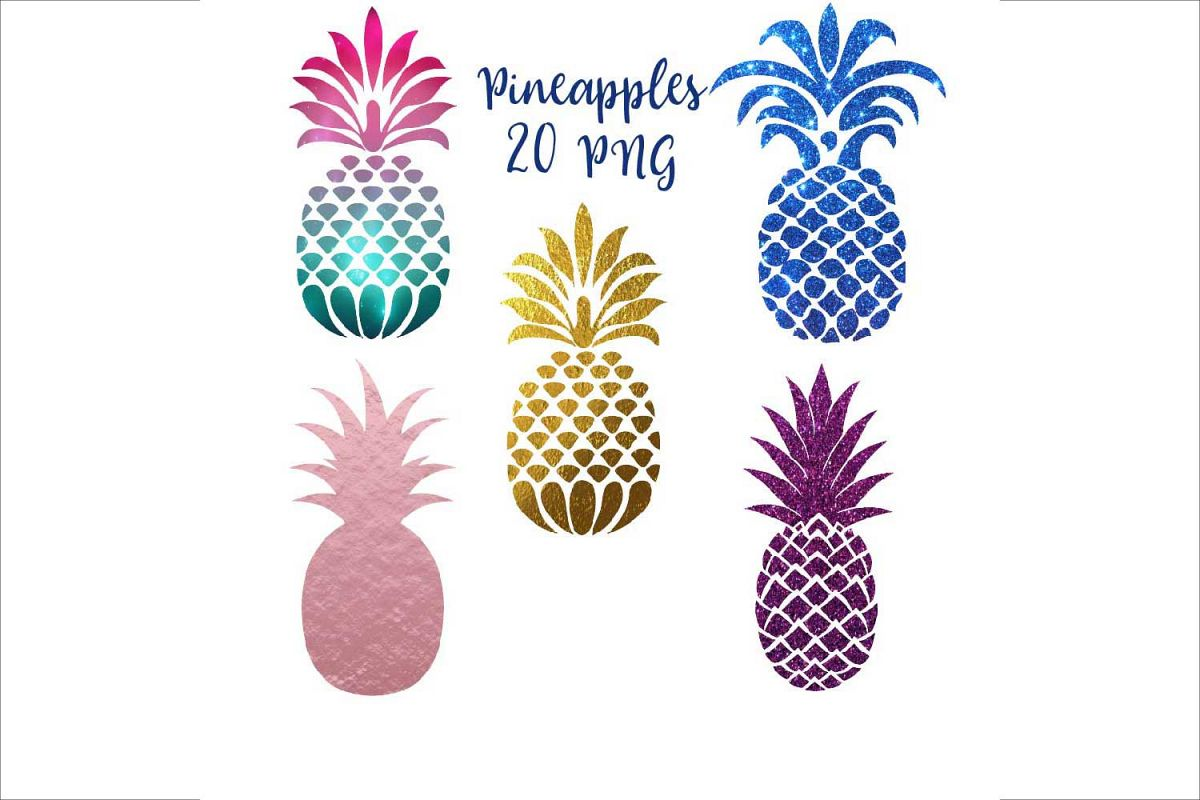 Pineapple Silhouettes Clipart.