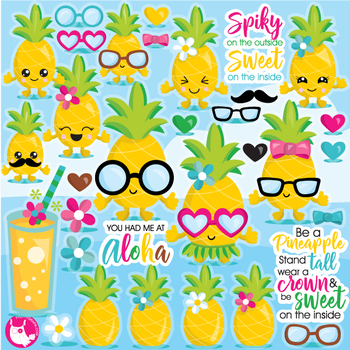 Pineapple party clipart commercial use, vector graphics.