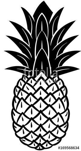 Vector: Pineapple icon in black and white..