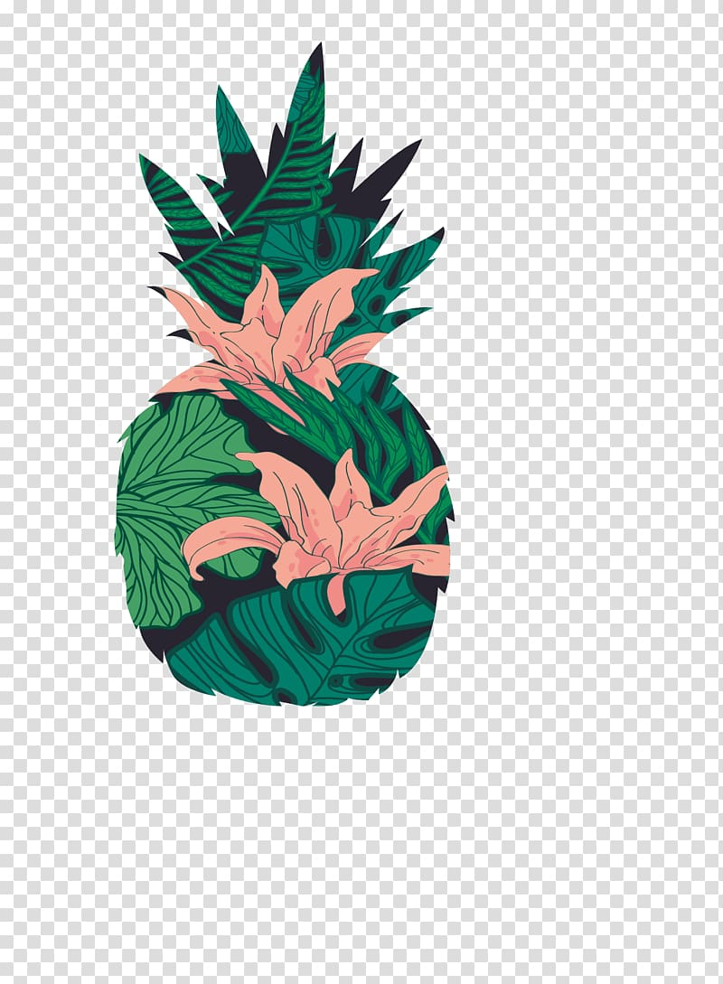 Green and pink floral pineapple artwork, Icon, Tropical.