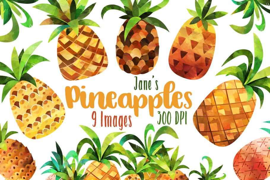 Watercolor Pineapple Clipart.