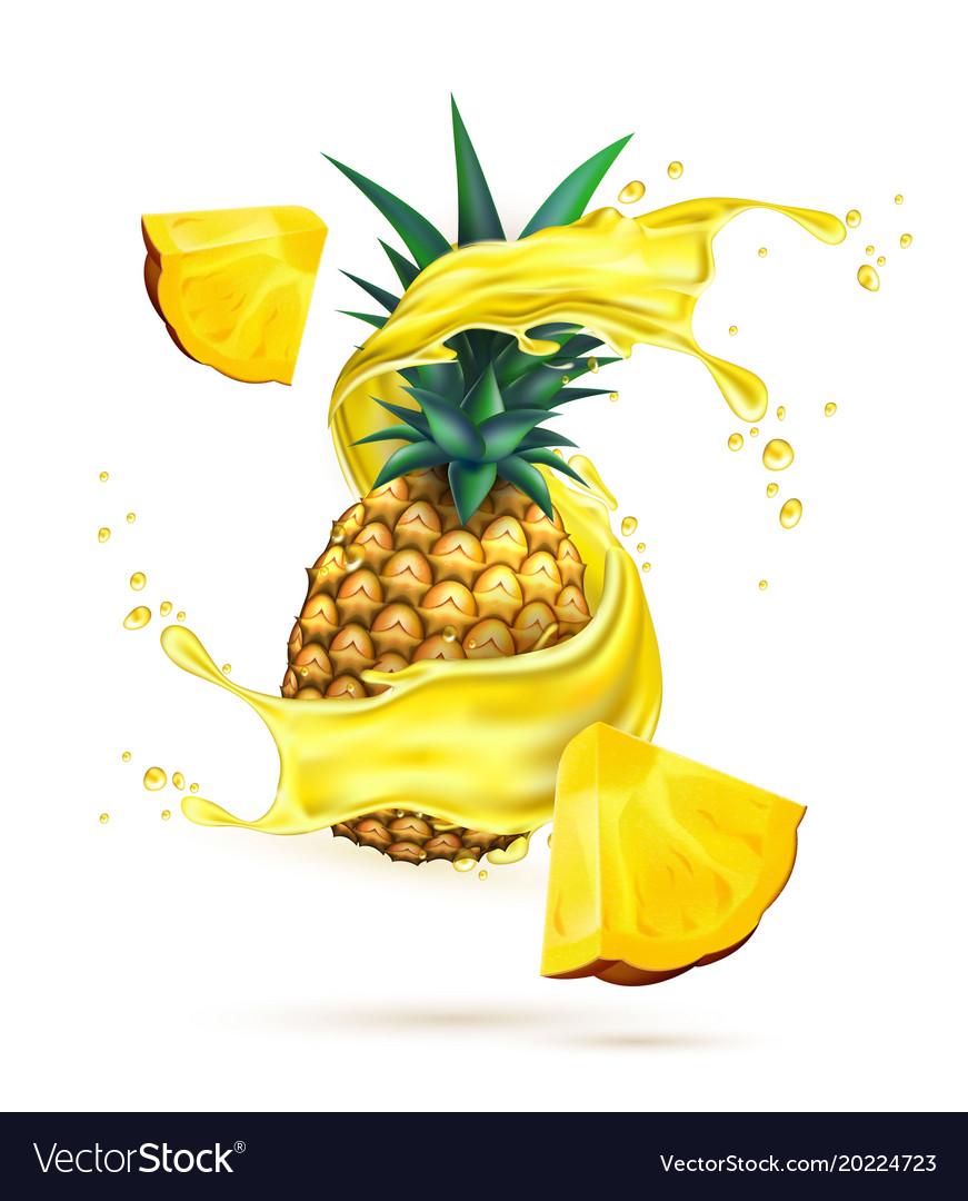 Realistic pineapple juice splash slice.