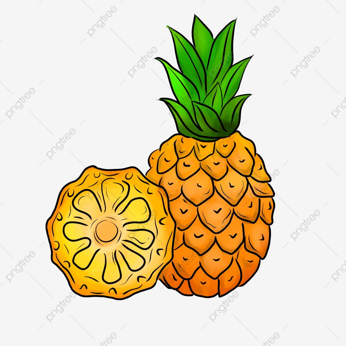 Yellow Pineapple Juice Illustration Cartoon Pineapple Fruit.