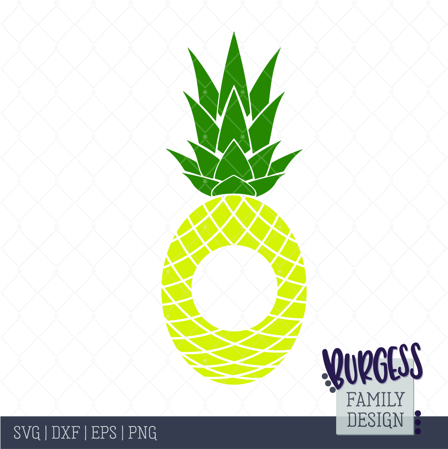 Monogram cutout pineapple Cut file.