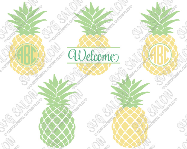 Pineapple Monogram Cut File in SVG, EPS, DXF, JPEG, and PNG.