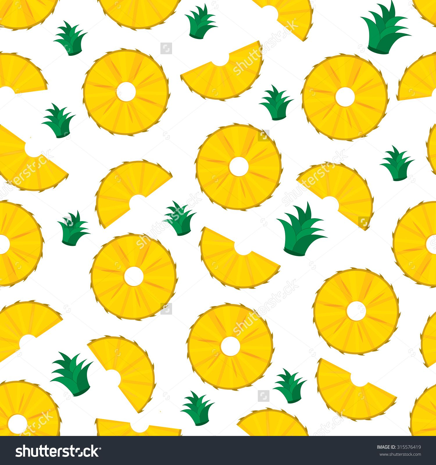 pineapple slices. summer pineapple fruit illustration.