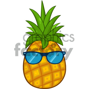 Royalty Free RF Clipart Illustration Pineapple Fruit With Green Leafs  Cartoon Drawing Simple Design With Sunglasses Vector Illustration Isolated  On.