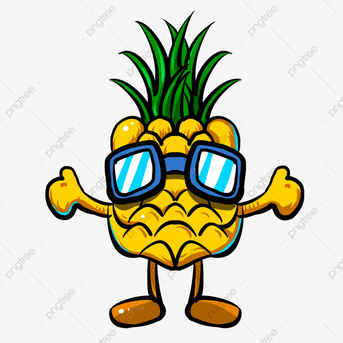Wearing Sunglasses Pineapple Caring, Sunglasses Vector.