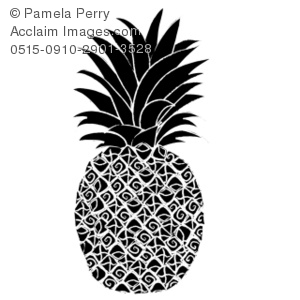 Clip Art Illustration of a Pineapple Silhouette.