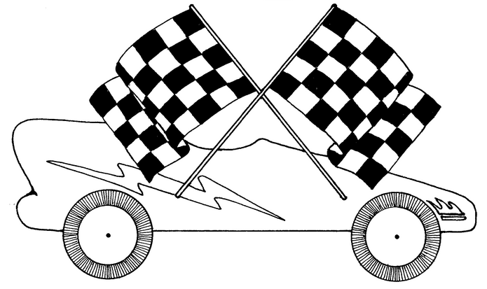 cub scout, pinewood derby black and white coloring sheet.