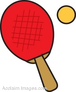 Clip Art of a Ping Pong Paddle With Ball.