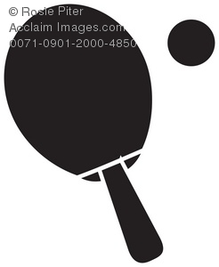 Clip Art Illustration of a Ping Pong Paddle Silhouette.