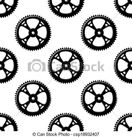 Vector Clipart of Pinions and gears seamless pattern for.