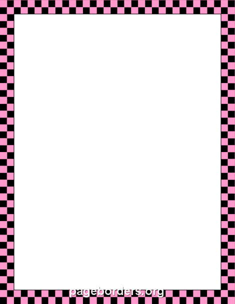 Pink and Black Checkered Border: Clip Art, Page Border, and.