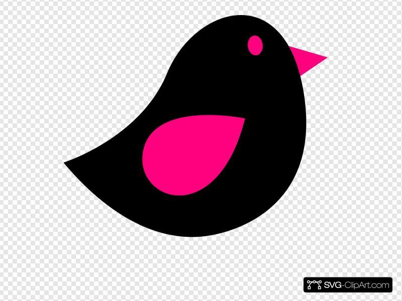 Pink & Black Birdie Clip art, Icon and SVG.