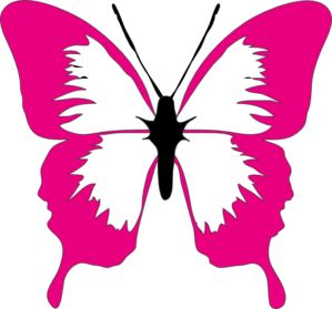 Pink And Black Butterfly Clipart.