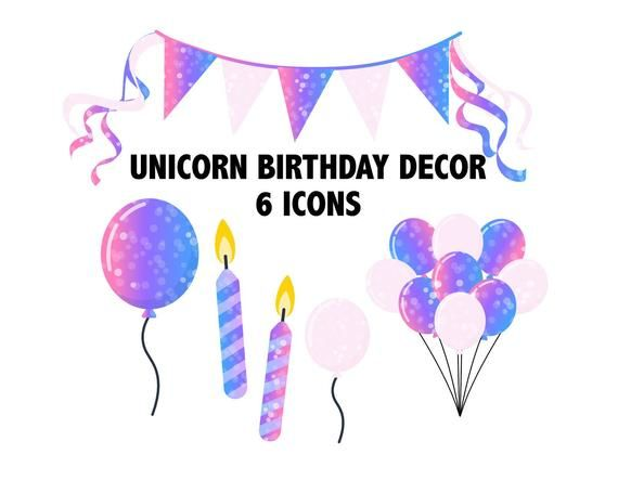 UNICORN BALLOON CLIPART.