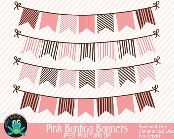 Pink Brown Bunting Banners {Upzaz Digital Clipart}.