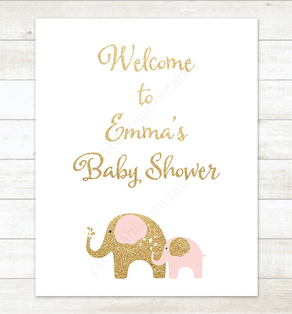 pink and gold elephants baby shower welcome sign baby girl.