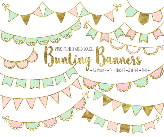 Gold Bunting Banner Clip Art. Mint & Pink Bunting Clipart..