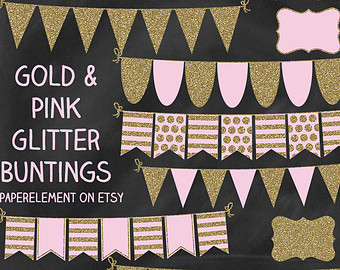 Pink And Gold Banner Clipart.