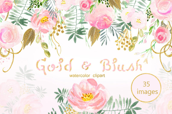 Blush pink. and gold palette Digital clip art. Soft pink.
