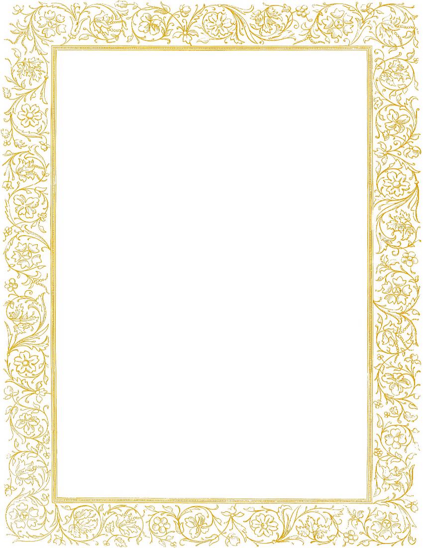 Victorian Floral Border Gold Clipart.