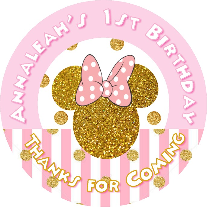 Details about MINNIE MOUSE PINK AND GOLD GLITTER BIRTHDAY PARTY ROUND  STICKERS LABELS FAVORS.