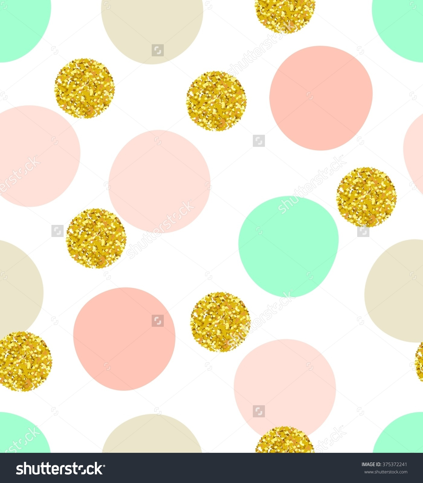 Cute Kids Polka Dot Colorful Seamless Pattern With Glittering Gold.