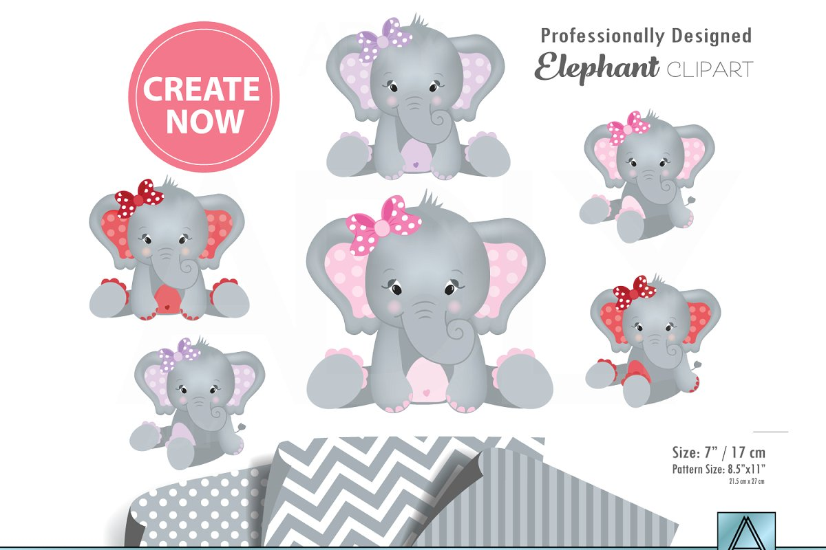 Girl elephant clipart three colors.