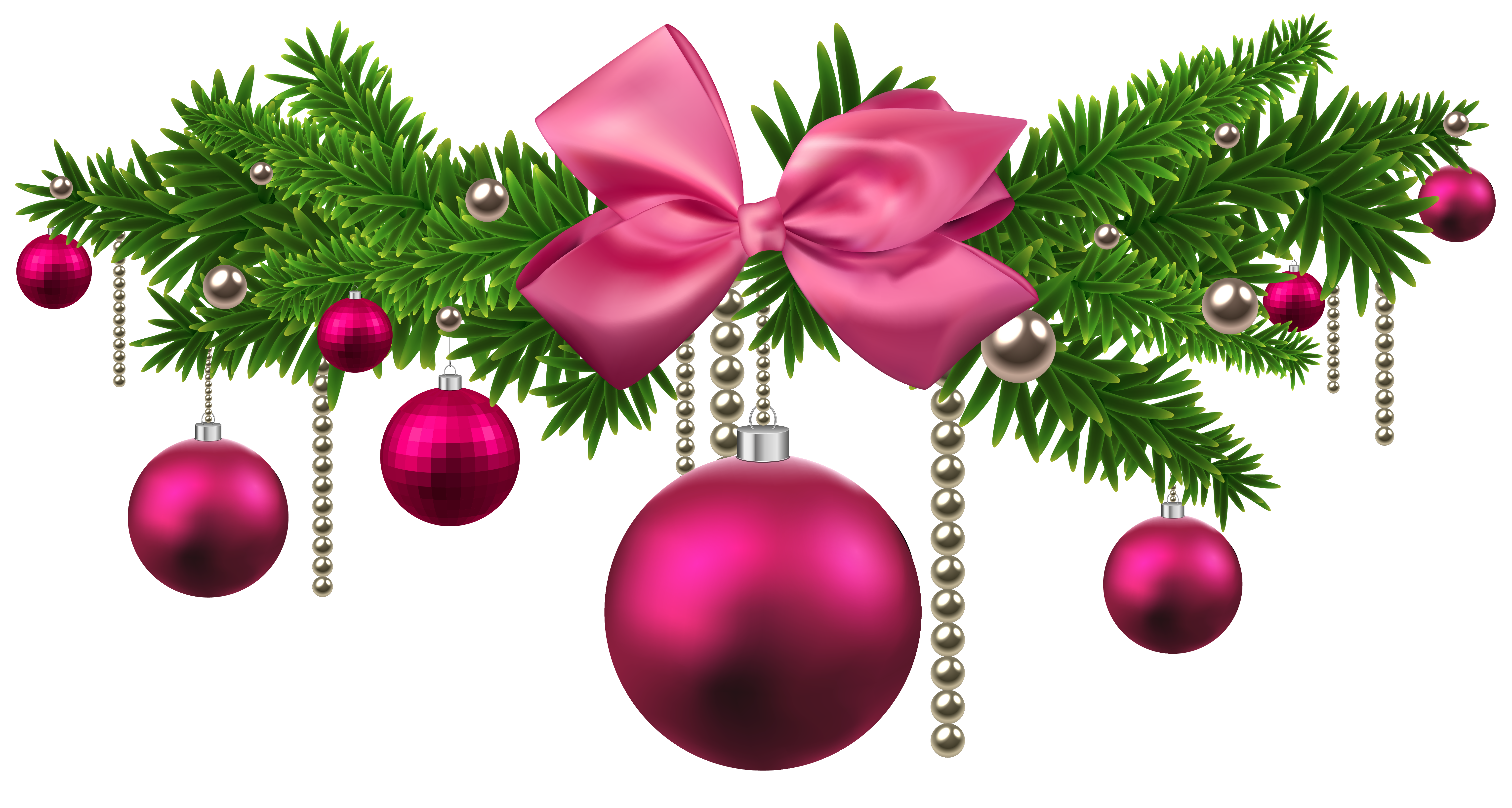 Pink Christmas Balls Decoration PNG Clipart.