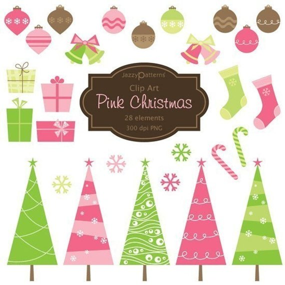 Pink Christmas clipart, pink Christmas tree, ornaments.