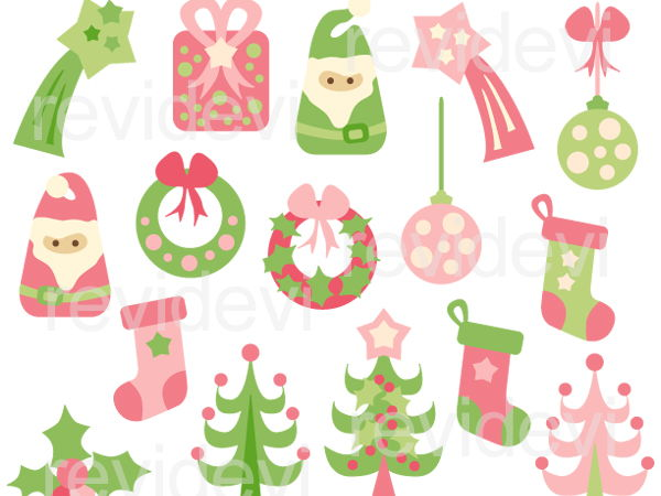 Christmas clipart: pink lime green Xmas.