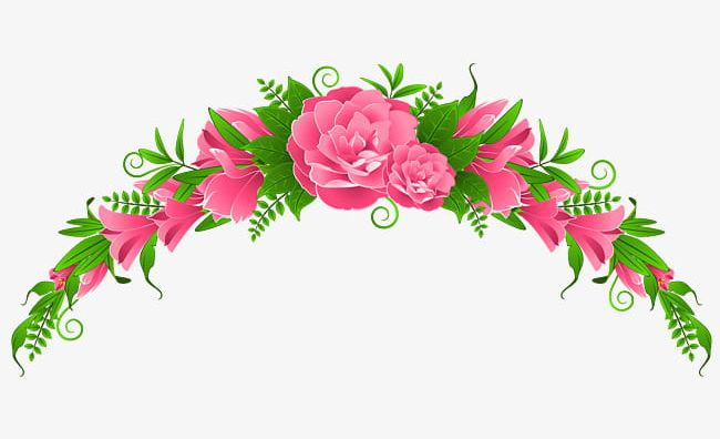 Green Leaves Pink Flowers Headband PNG, Clipart, Flowers.