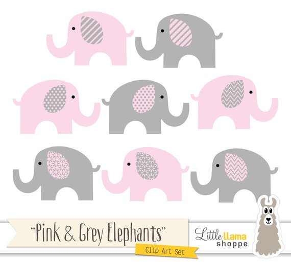 Pink and Grey Elephants Clipart, Pink & Gray Nursery Decor.