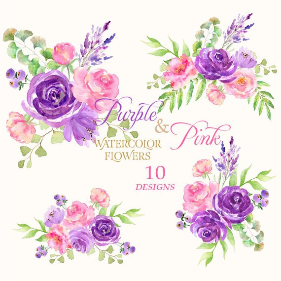 Pink and Purple Flower Clipart, Roses Watercolor, Watercolor.