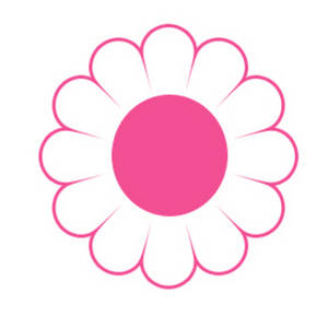 Clipart Image of a White and Pink Daisy.