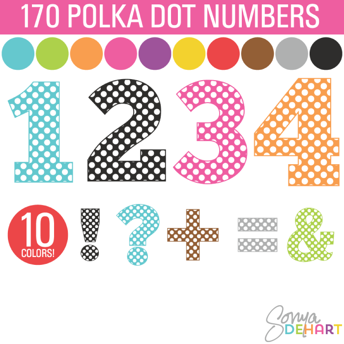 Pink And White One Polka Dot Number Clipart.