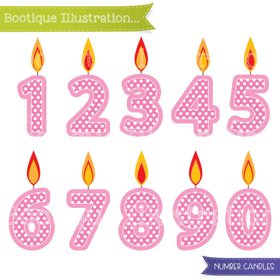 Blue Number Candles Clipart. Boys Birthday Clipart. Blue Candles.