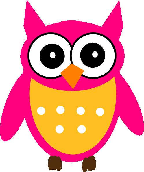 Pink Yellow Owl Clip Art at Clker.com.