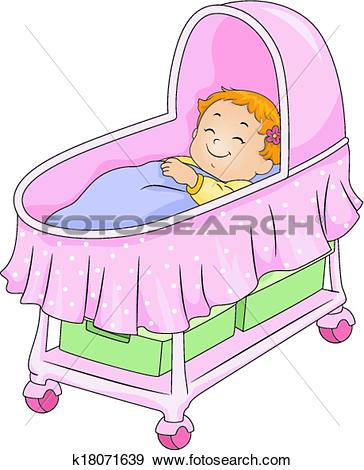 Clip Art of Baby Girl Bassinet k18071639.