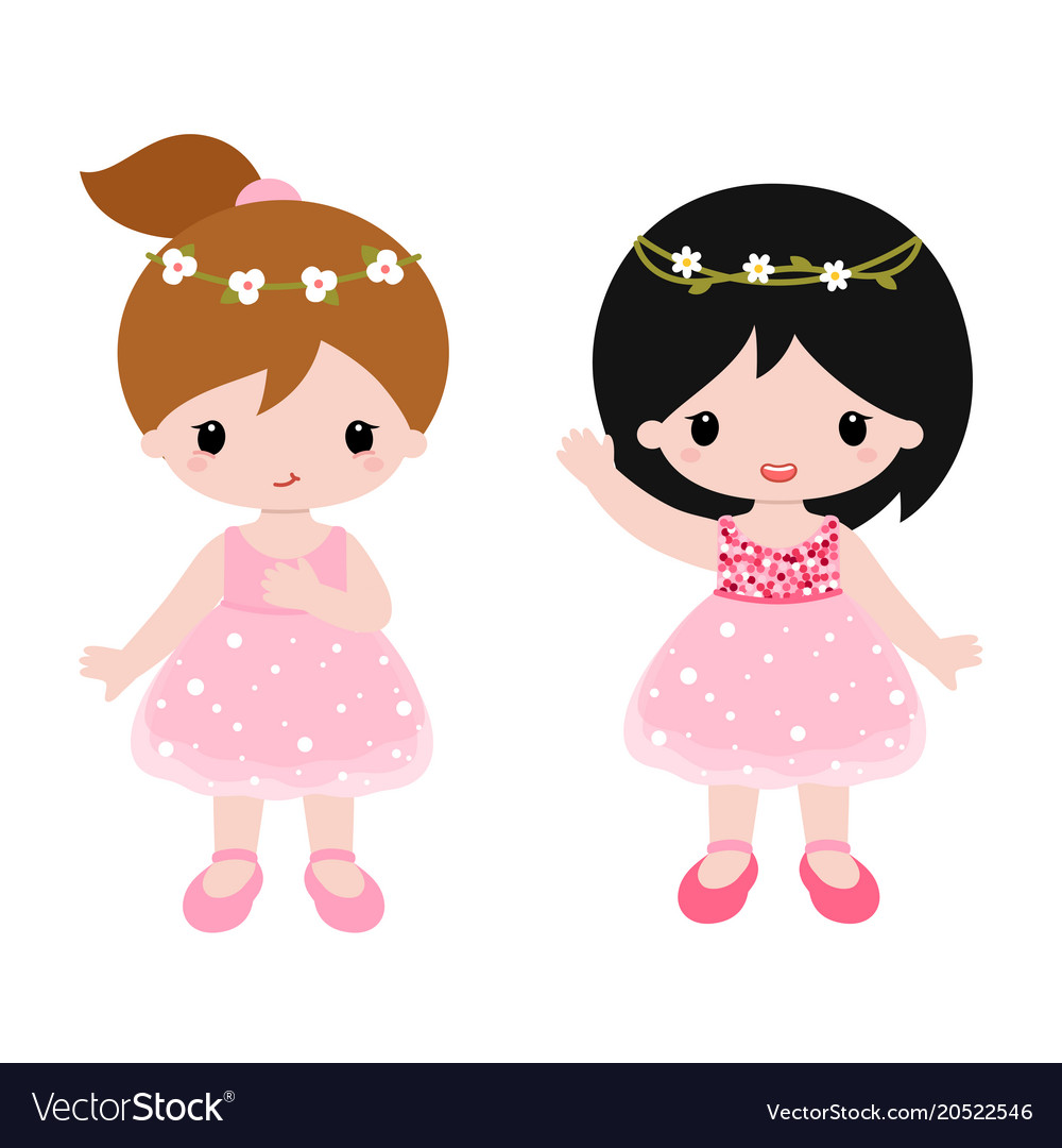 Cute baby ballerinas in pink dress clipart.