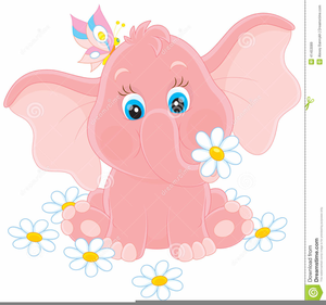 Pink Baby Elephant Clipart.