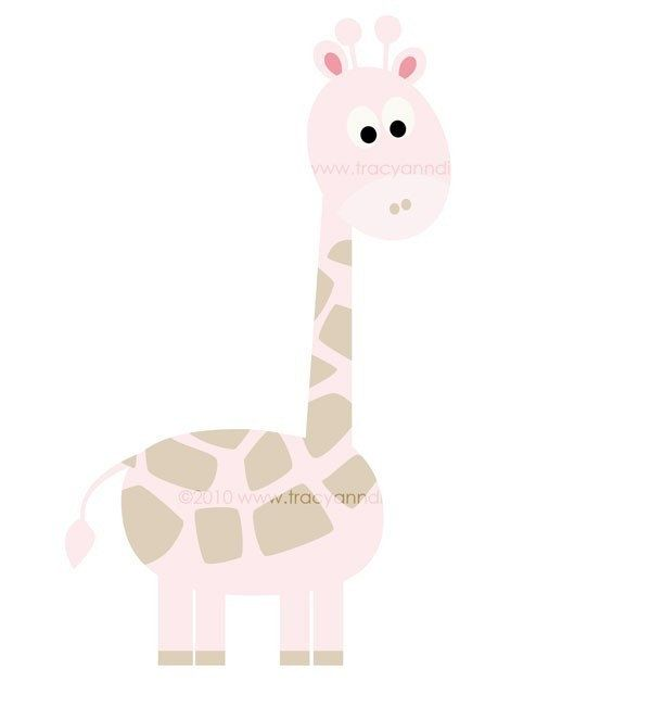 Giraffe Clip Art Baby Pink Giraffe clipart commercial and.