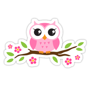 Cute pink cartoon baby owl sitting on a branch with leaves.