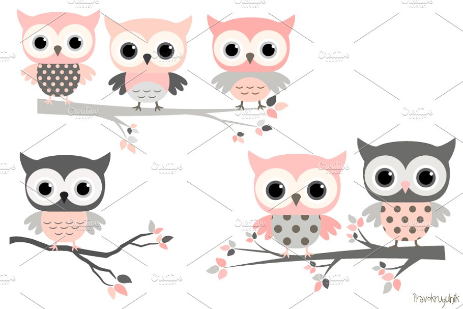 Cute girl owls clip art set.