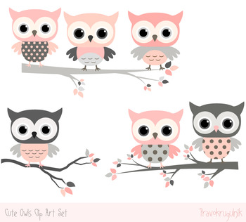Pink and grey owls clip art set, Cute owls on tree branches clipart  collection.